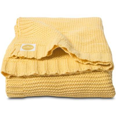couverture en coton tricot chunky jaune 75 x 100 cm. Black Bedroom Furniture Sets. Home Design Ideas