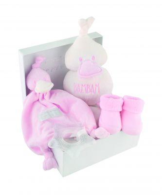 coffret cadeau naissance doudou canard rose 4 pices. Black Bedroom Furniture Sets. Home Design Ideas
