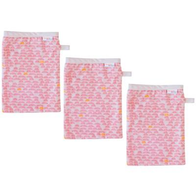 Lot de 3 gants de toilette mousseline pebble pink