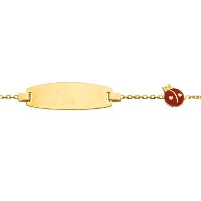 Gourmette Coccinelle laqu�e (or jaune 750�) - Berceau magique bijoux