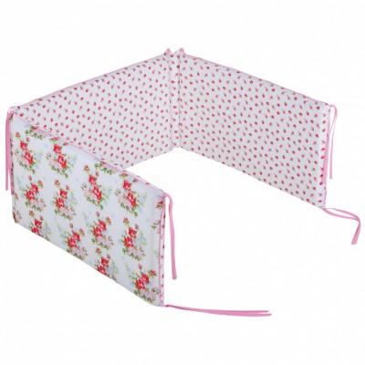 Tour de lit bébé Floral rose pour lits 60 x 120 et 70 x 140 cm