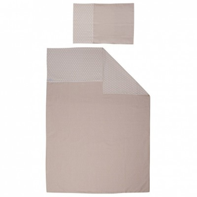 Parure de lit housse de couette et taie d'oreiller etoile beige (100 x 135 cm)