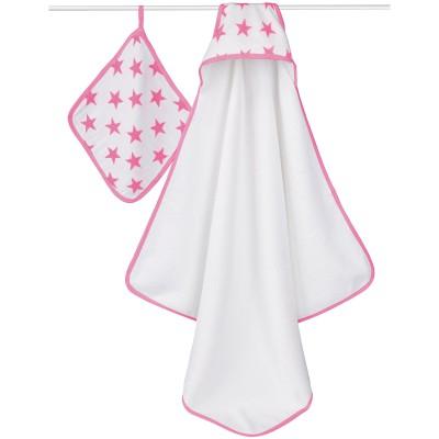 Set de bain rose et blanc fluo pink 2 pièces (88 x 88 cm)