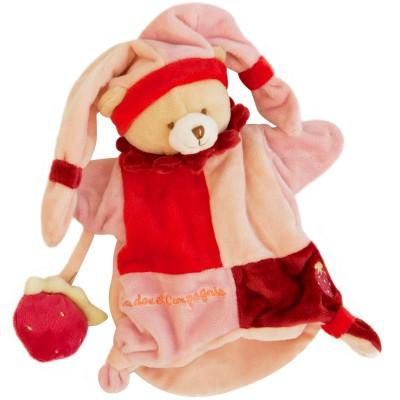 Doudou marionnette ours et fraise