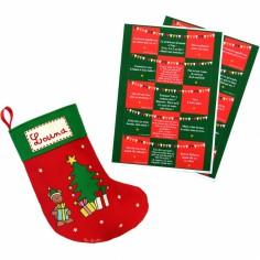 Calendrier de l'Avent chaussette rouge � �toiles (personnalisable) - Les Griottes