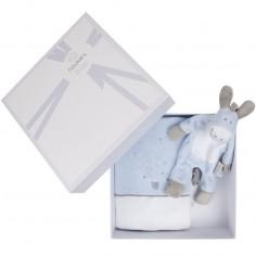 Coffret cadeau prot�ge carnet de sant� + doudou plat Paco platso bleu cocon  - Noukie's