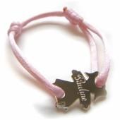 Bracelet cordon petite fille 17 mm (or blanc 750�) - Loupidou