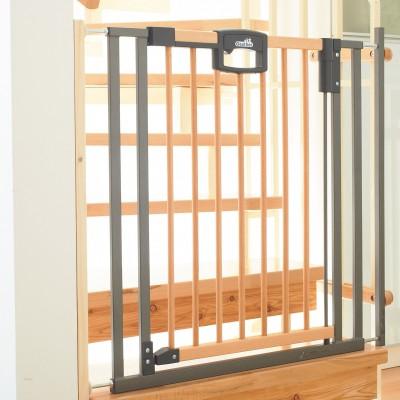 Barrière de sécurité pour escaliers easy lock bois et métal (84 à 92,5 cm)