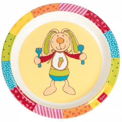 Assiette rainbow rabbit multicolore