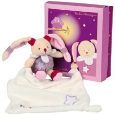 Coffret peluche lapin rose et doudou Chouette �a brille (13 cm) - Doudou et Compagnie