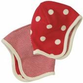 Bonnet r�versible rouge � pois blancs (12-18 mois) - Organics for Kids