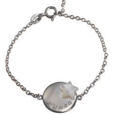 Bracelet Lovely m�daille �toile (argent 925� et nacre) - Petits tr�sors