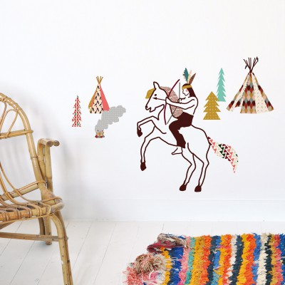 sticker mural indien 26 x 35 cm mimi 39 lou. Black Bedroom Furniture Sets. Home Design Ideas