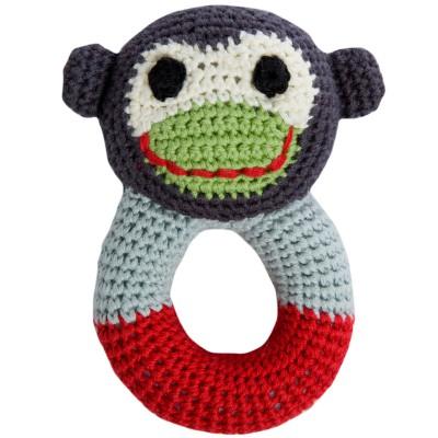 Hochet anneau jill le singe en crochet de coton bio (18 cm)