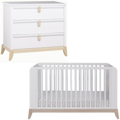 Pack duo flocon lit bébé et commode