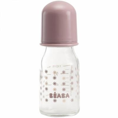 Biberon en verre poudré rose petites étoiles (110 ml)