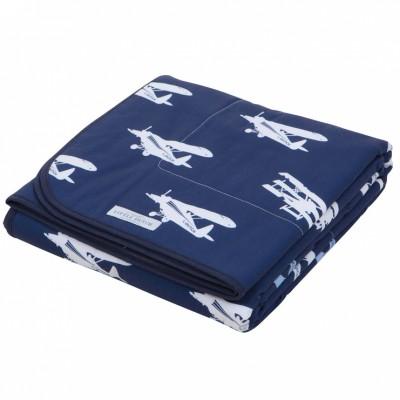 couverture de lit blue airplane 110 x 140 cm little. Black Bedroom Furniture Sets. Home Design Ideas