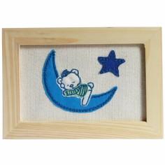 Tableau d�coratif brod� coton bleu (13 x 18 cm) - Pouli Pouly