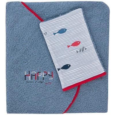 Cape de bain et gant de toilette denim spirit gris bleu (80 x 78,5 cm)
