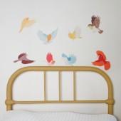 Sticker oiseau Flying twitters earthy (petit modèle) - Love Maé