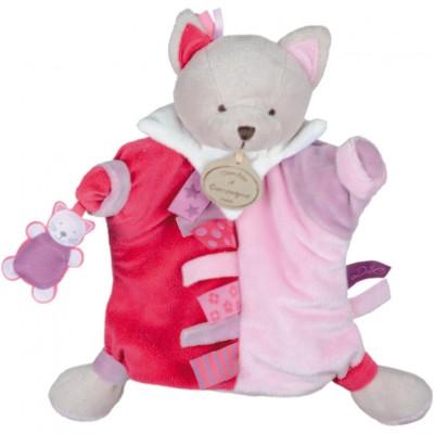 Doudou marionnette étiquette chat (23 cm)