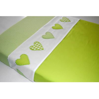 Drap de lit coeur patchwork vert anis (100 x 80 cm)