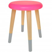 Tabouret 3 pieds Alice rose fluo et gris ciment - Rose in April