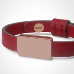 Bracelet cuir Hip-Hop Cerise (or rose 750� et cuir) - Mikado