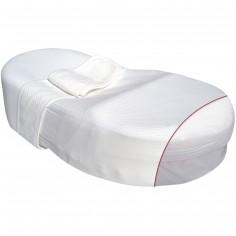 Drap housse fleur de coton blanc + bande ventrale + housse de protection integrale pour Cocoonababy - Red Castle