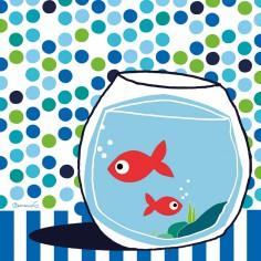 Tableau poissons confettis bleu by Cl�mence G. (30 x 30 cm) - Lilipinso