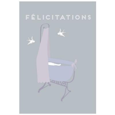 Carte de félicitations naissance berceau