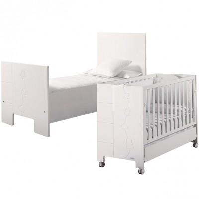lit volutif avec sommier inclinable blanc 70 x 140 cm. Black Bedroom Furniture Sets. Home Design Ideas