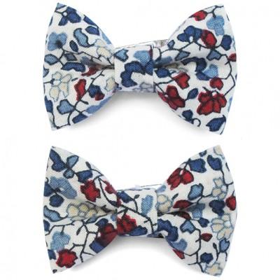 barrettes classique mini noeud papillon fleuri bleu marine. Black Bedroom Furniture Sets. Home Design Ideas