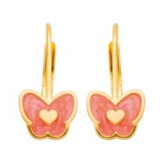 Boucles d'oreilles cr�oles papillons laqu�s rouge (or jaune)