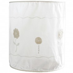 Suspension lampion en tissu Fleurs en crochet blanches - Taftan