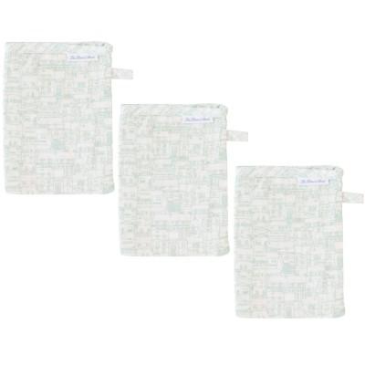 Lot de 3 gants de toilette mousseline village
