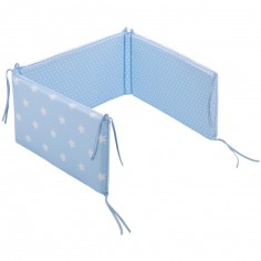 Tour de lit b�b� Bleu ciel �toile et rayure (pour lits 60 x 120 et 70 x 140 cm) - Little Dutch