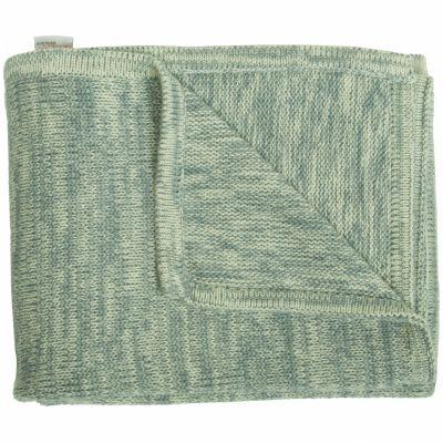 couverture tricot coton bleu et vert d 39 eau 120 x 150 cm. Black Bedroom Furniture Sets. Home Design Ideas