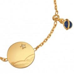 Bracelet m�daille Le Petit Prince dans le d�sert (or jaune 750�, diamant et �mail) - La Monnaie de Paris