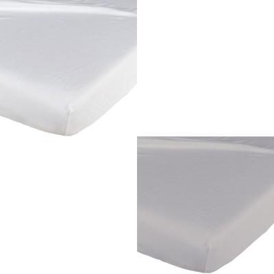 Lot de 2 draps housse blanc / gris (60 x 120 cm)