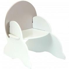 Petite chaise en bois blanche dossier taupe - Room Studio
