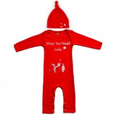 Set Pyjama personnalisable + Bonnet Mon Premier No�l (12 mois) - Les Griottes