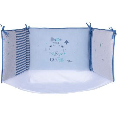 tour de lit dodo petit ours bleu pour lit 60 x 120 et 70 x. Black Bedroom Furniture Sets. Home Design Ideas