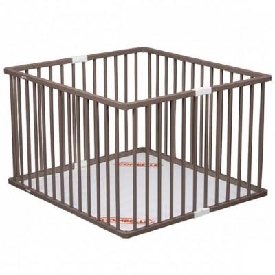 parc bb pliable en bois massif laqu taupe 92 x 98 cm. Black Bedroom Furniture Sets. Home Design Ideas