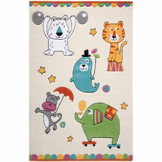 Tapis Little Artists animaux du cirque �cru (150 x 220 cm) - Smart Kids