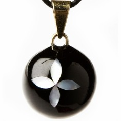 Bola noir nacr� fleur - Babylonia