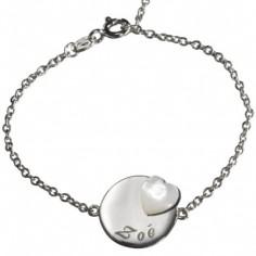 Bracelet Lovely m�daille coeur (argent 925� et nacre) - Petits tr�sors