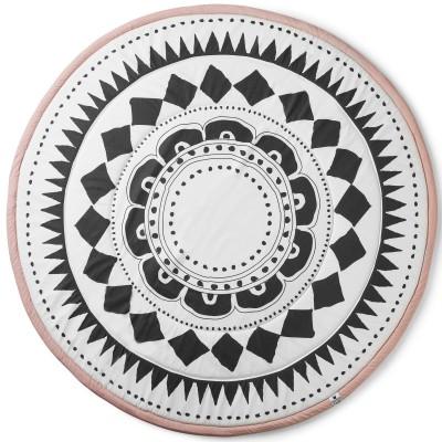 tapis de jeu rond graphic devotion rose et noir 120 cm. Black Bedroom Furniture Sets. Home Design Ideas