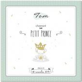 Tableau de naissance personnalisable petit prince vert menthe (30 x 30 cm) - Mes mots d�co