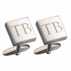 Boutons de manchettes Gaspard initiales (rhodium argent�) - Petits tr�sors